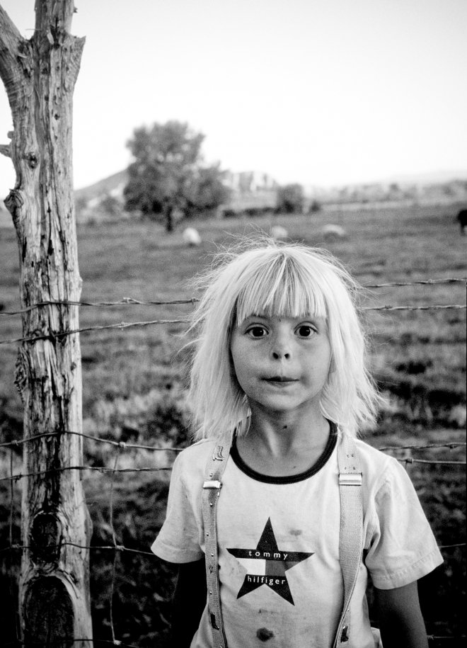 Portrait of little girl in rural Phoenix, Arizona