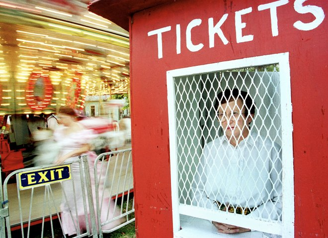 Portrait of ticket booth take at the fair in Phoenix, Arizona