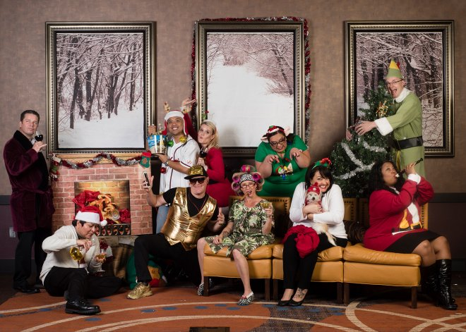 Funny awkward christmas corporate portrait in Phoenix, Arizona
