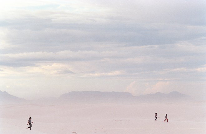 A portrait of tourists in White Sands, New Mexico