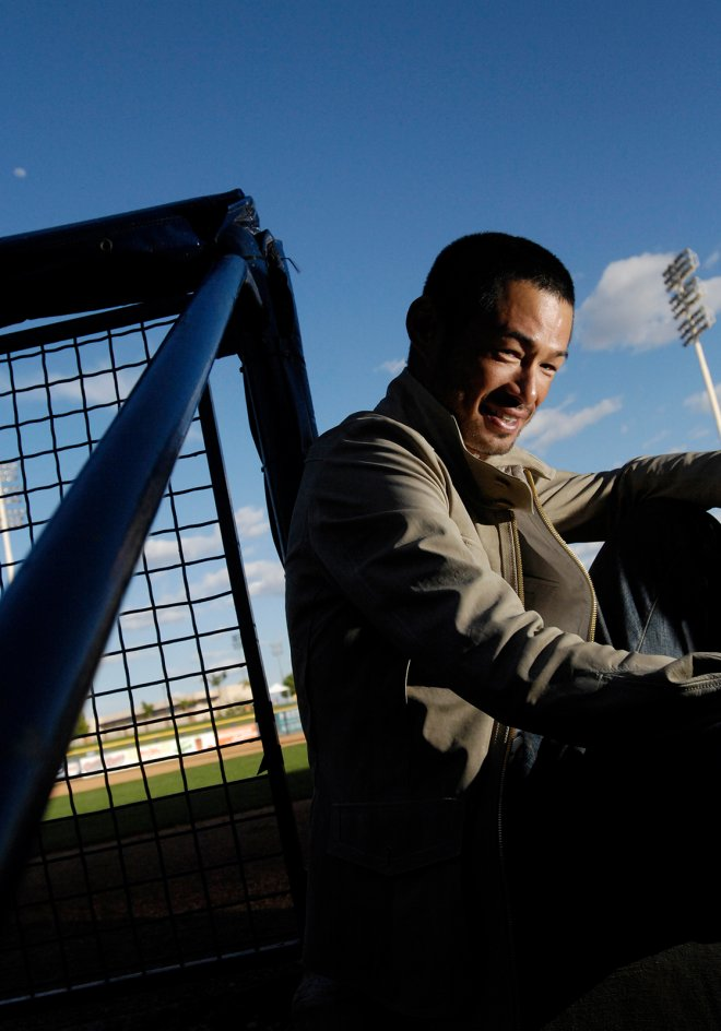 Portrait of MLB player Icihiro Suzuki in Phoenix, Arizona