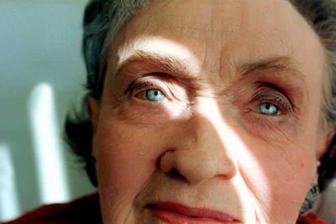 Blue eye portrait of elderly woman in Phoenix, Arizona